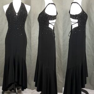 Masquerade Black Halter Top Formal Gown